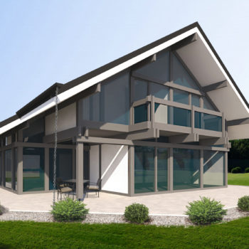 Двухэтажный фахверковый дом
