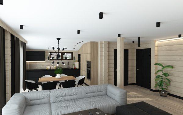 Фото интерьера дома из клееного бруса