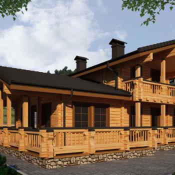 Красивый деревянный коттедж