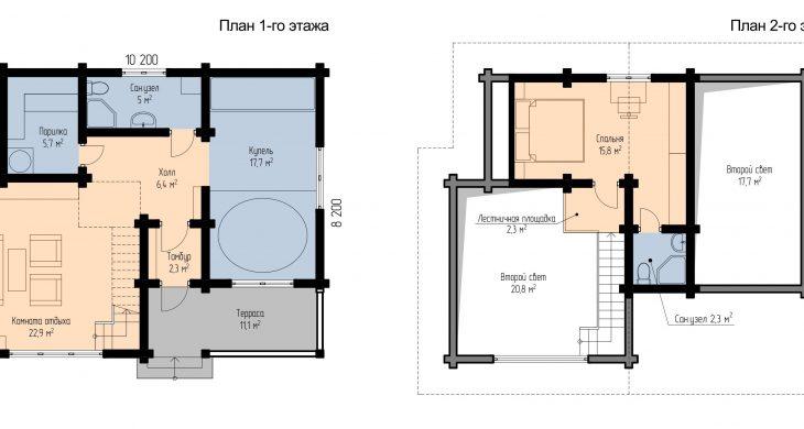 Двухэтажный дом для отдыха за городом