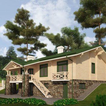 деревянный дом с цокольным этажом