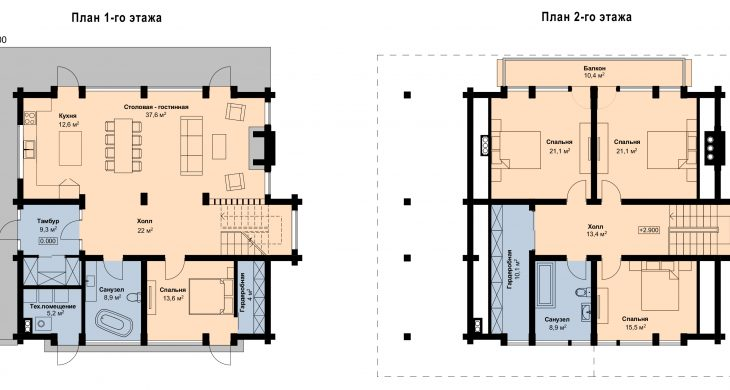 Планы дома из бруса