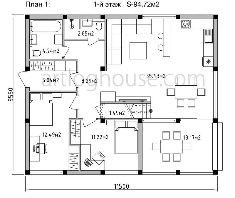 план дома с панорамным остеклением